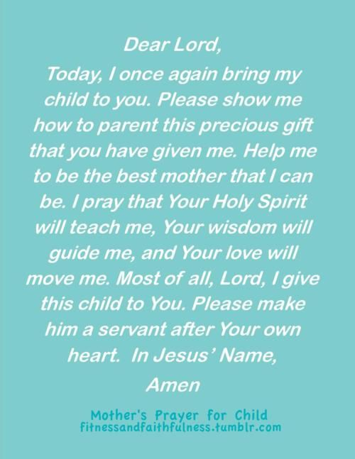 a mother's prayer for her child