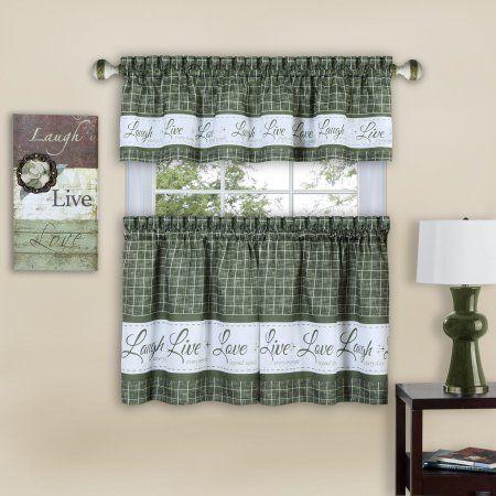 Achim Live Love Laugh Window Kitchen Curtain Tier Pair And