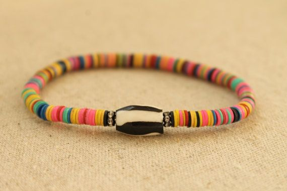 Colorful Tribal Layering Bracelet. Bone and by EveilleJewelry