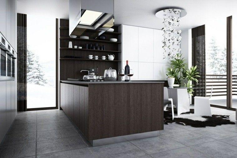 cocina moderna con isla pared negra y armario blanco | cocina ...