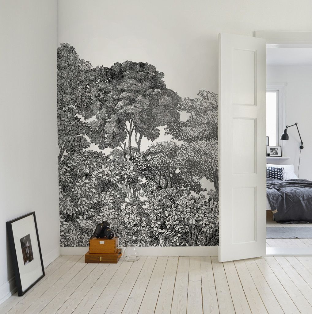 The Brand New Rebel Walls Bellewood Black Toile Mural from the Greenhouse Collection #black #white #botanical #scandinavian #decor