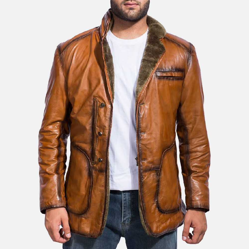 Rocky Brown Fur Leather Coat in 2020 Leather jacket