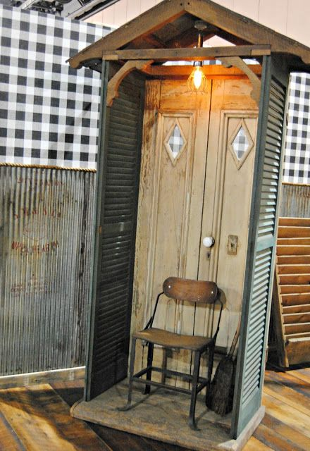 Photo Booth Idea With Upcycled Shutters And An Old Door