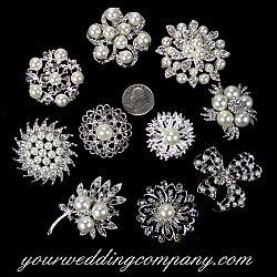 Wholesale Lot 12-100 Silver Pearl Rhinestone Crystal Brooch Pin Wedding Bouquet
