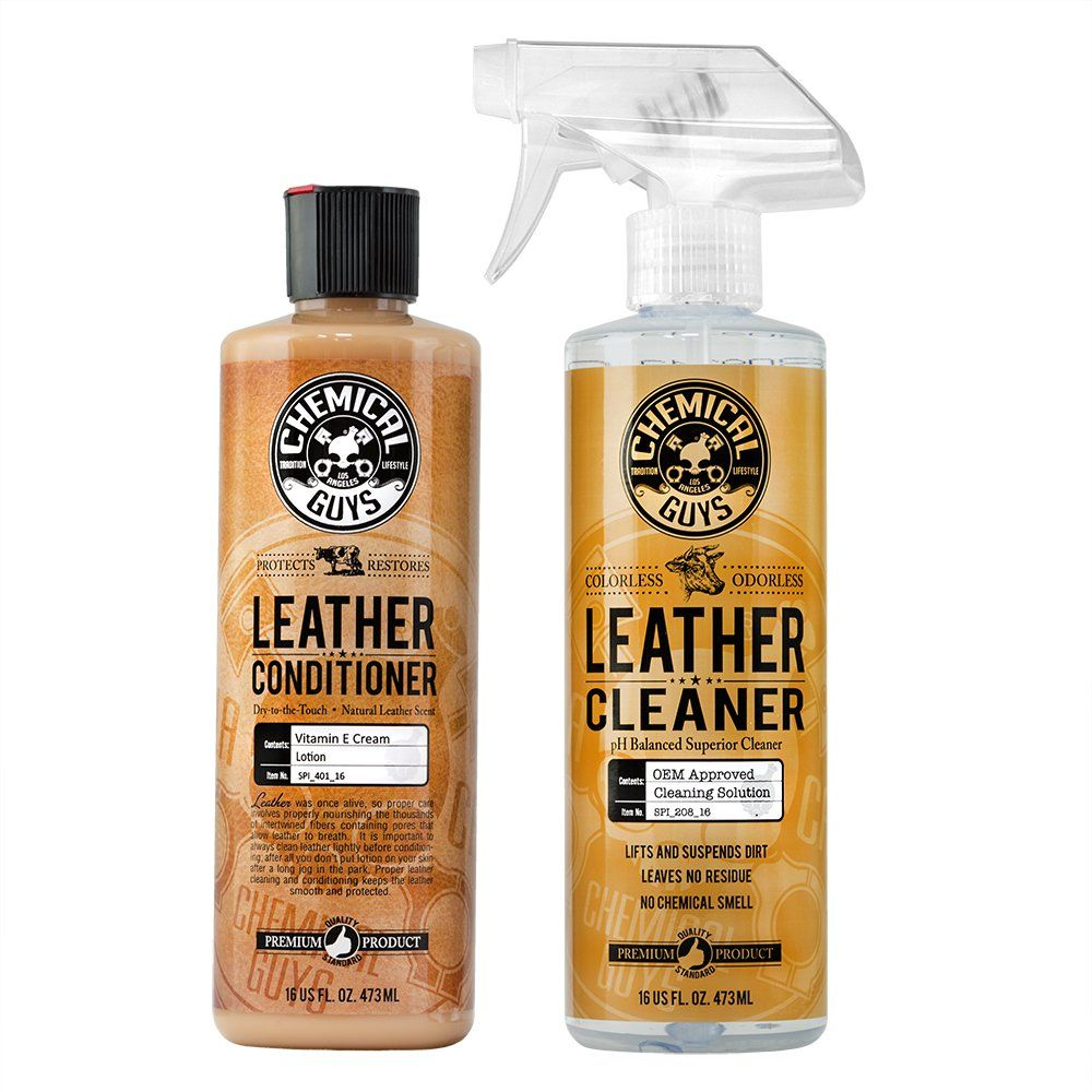 Chemical Guys Leather Cleaner And Conditioner Complete Leather Care Kit 16 Oz 2 Items Chemical Guys Leather Conditioner Cleaning Leather Car Seats