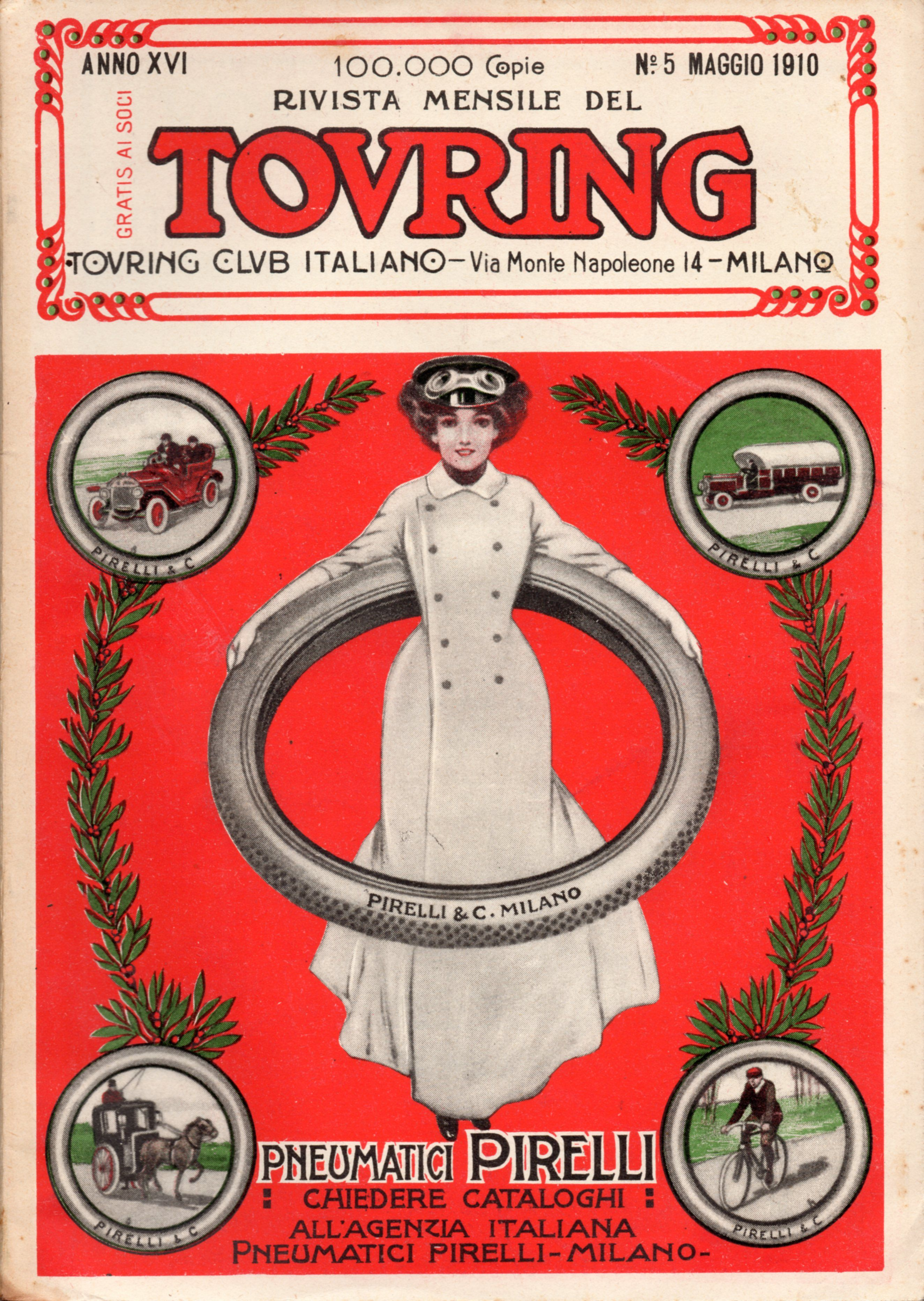 RIVISTA DEL TOURING CLUB ITALIANO - Maggio 1910: Pirelli pneumatici Milano