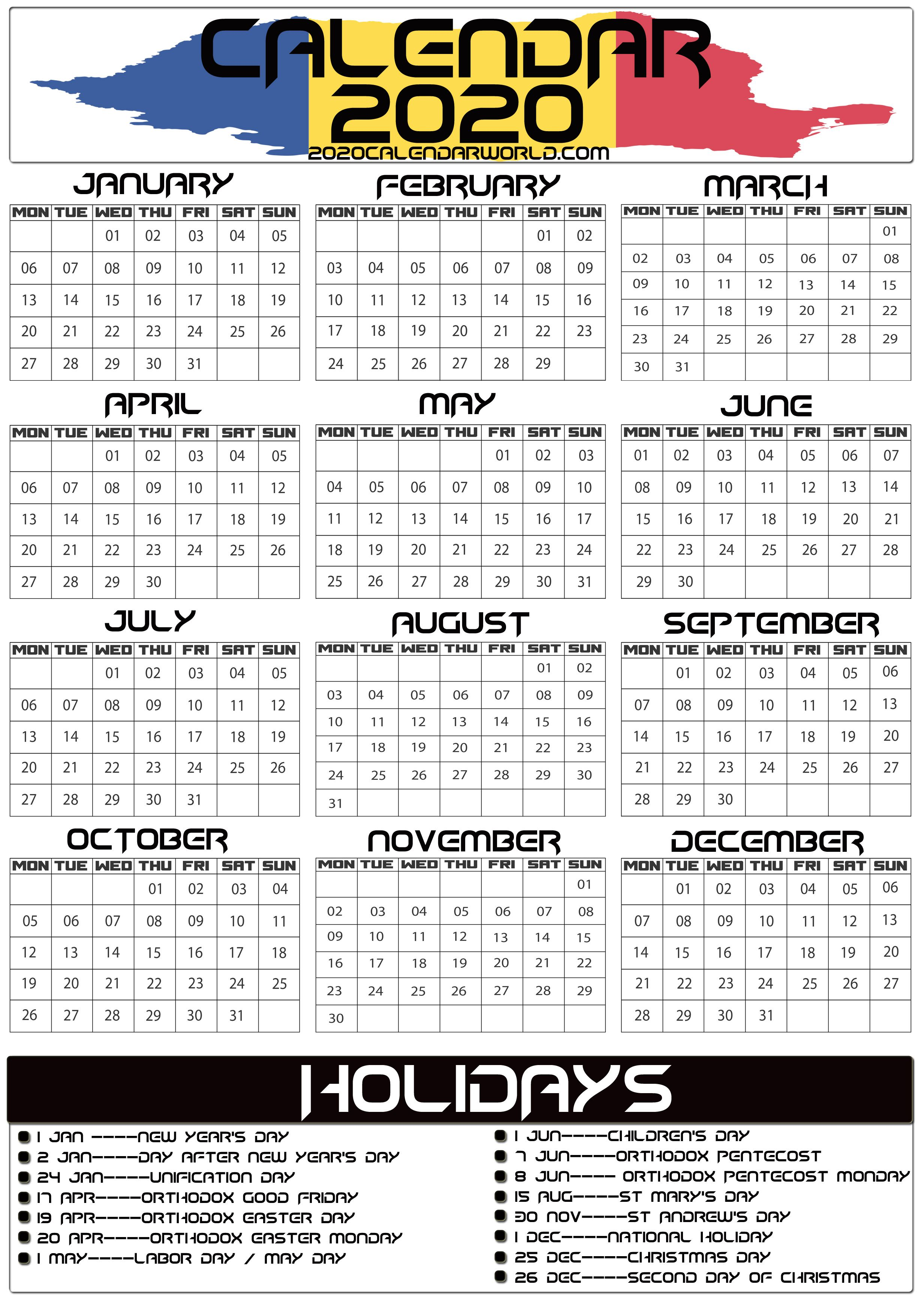 2020 Calendar Romania Holidays Calendar Holiday Printable Templates Holiday Printables