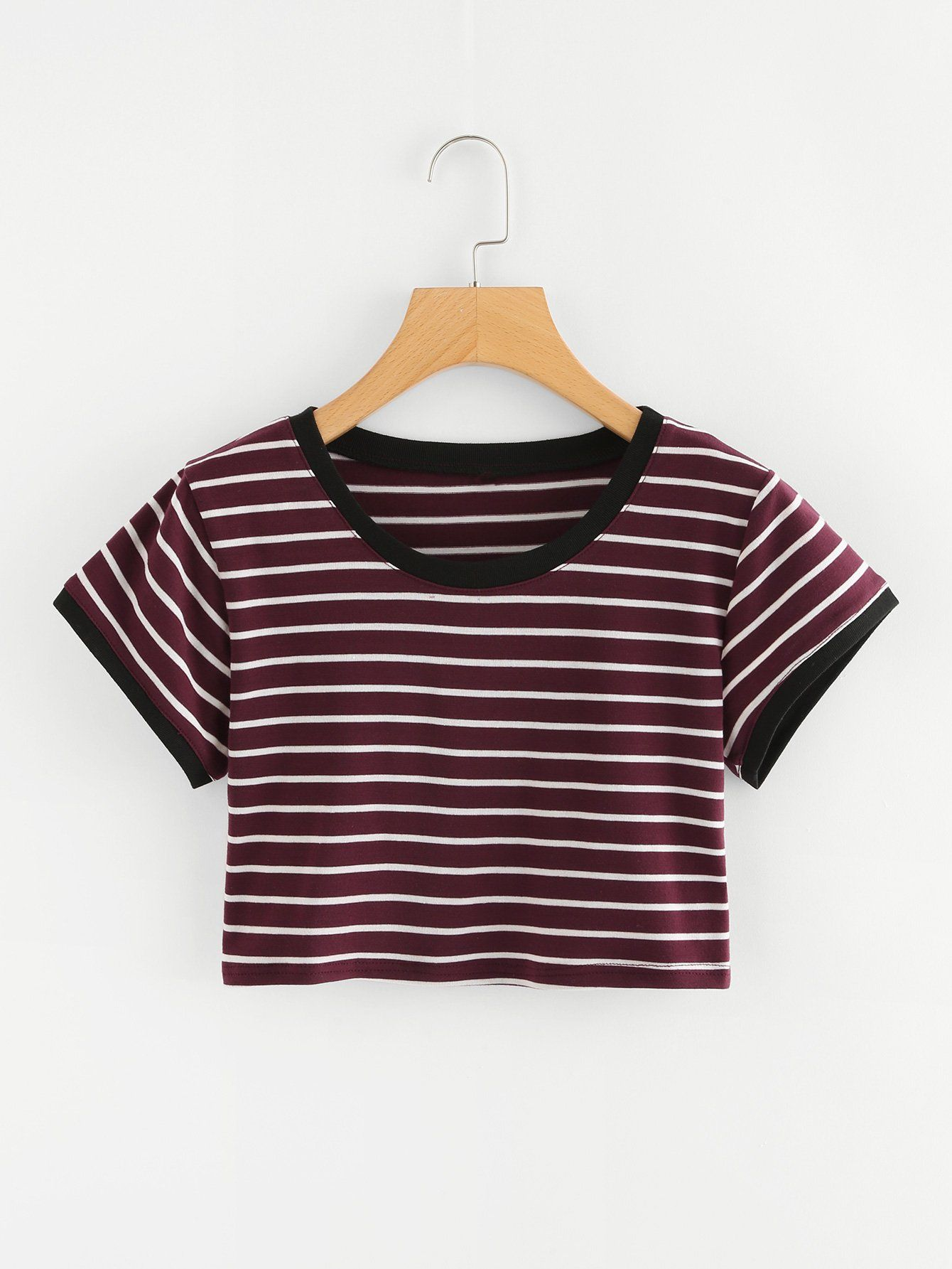 93f6cec857 Striped Ringer Crop Tee in 2019   Tops - Romwe   Crop top outfits ...