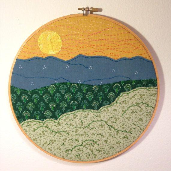 Mountain Sunset Embroidery Art 10 Hoop Art Golden Sunset