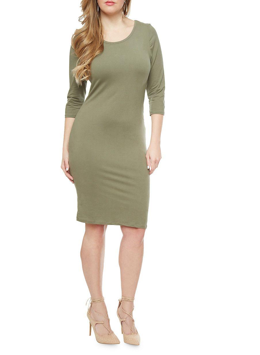 Plus Size Knit 3/4 Sleeve Midi Dress,OLIVE