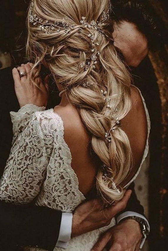 Crystal and Pearl hair vine Extra Long Hair Vine Bridal Hair