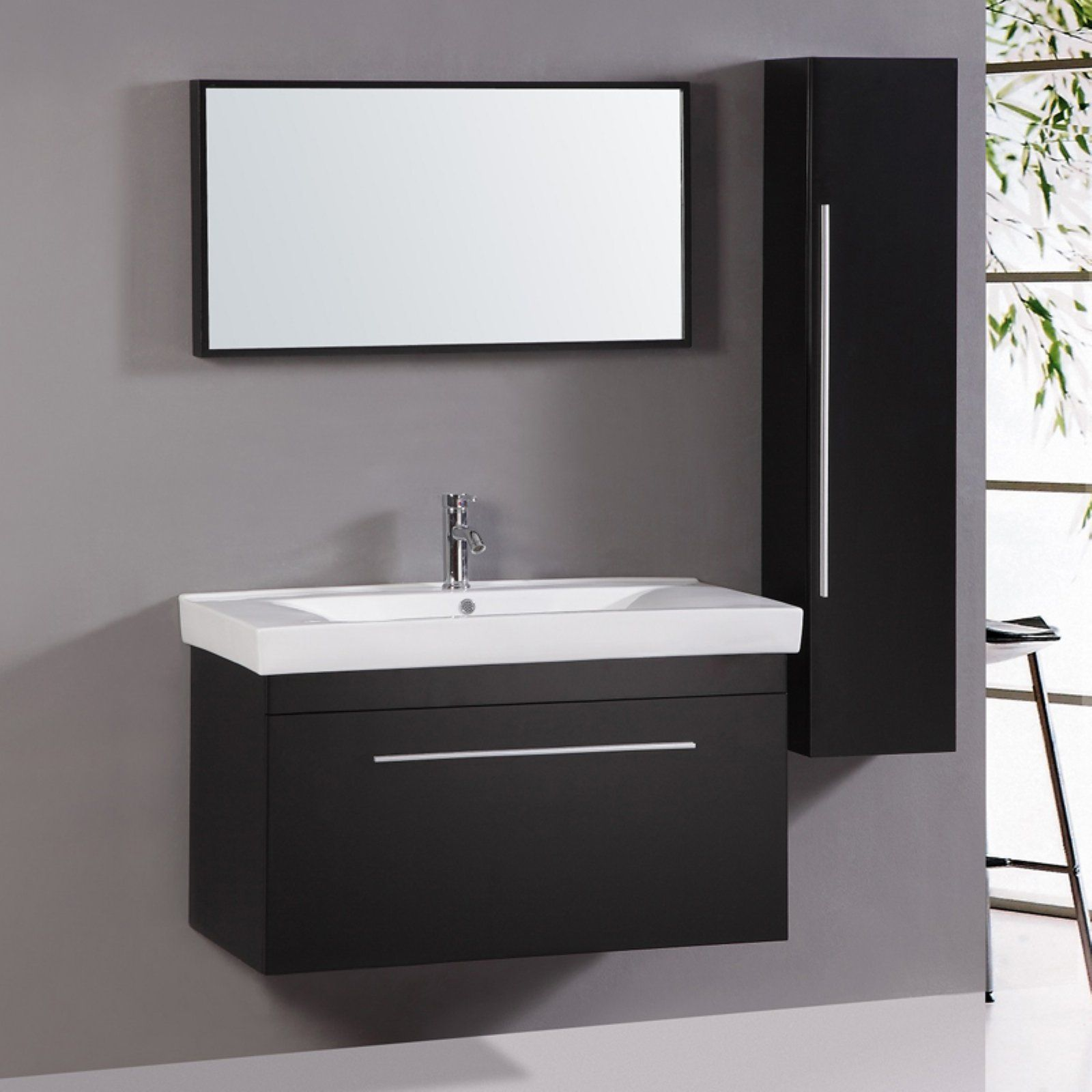 Legion Wt9002 Wall Mounted 40 In Single Vanity With Mirror And Side Cabinet Small Bathroom Vanities Unique Bathroom Vanity Bathroom Vanity [ jpg ]