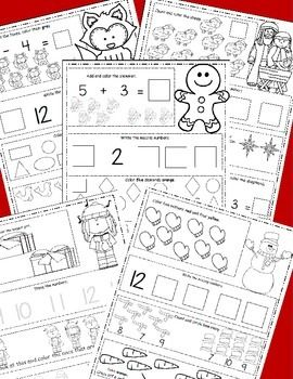 Christmas Math December Themed Math Worksheets, Winter Themed ...