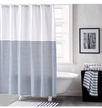 Dkny Parson Stripe Shower Curtain Striped Shower Curtains Black