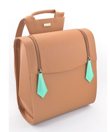1729ce393d0 Morral Zarabia Miel - Taupe backpack with mint green zip pulls ...