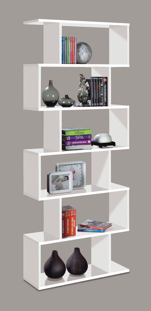 White Gloss Ziggy Bookcase Room Divider Shelf Shelving