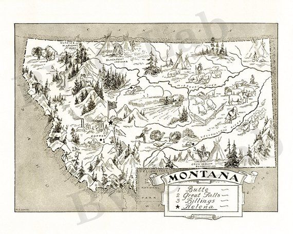 Pictorial Map of Montana fun illustration of vintage state map in