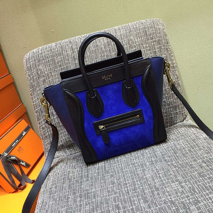 Celine blue suede and calfskin Tricolor nano bag | Bags bags bags ...