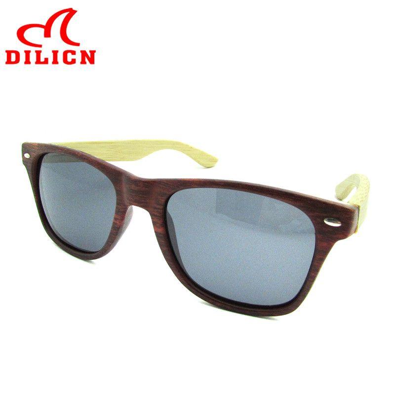 2433d58ea3 DILICN Fashion Red Mirror Imitation Wood Bamboo Sunglasses Men Polarized  Lens Sun Glasses Women Casual UV400
