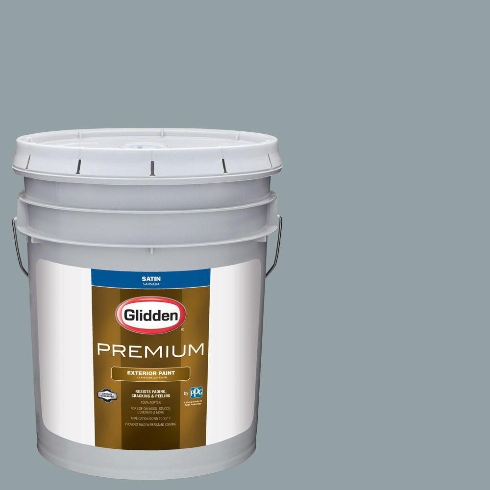 Glidden Premium 5 Gal Hdgcn33d Heritage Home Blue Satin Latex Exterior Paint Products Exterior Paint Interior Paint Paint Primer
