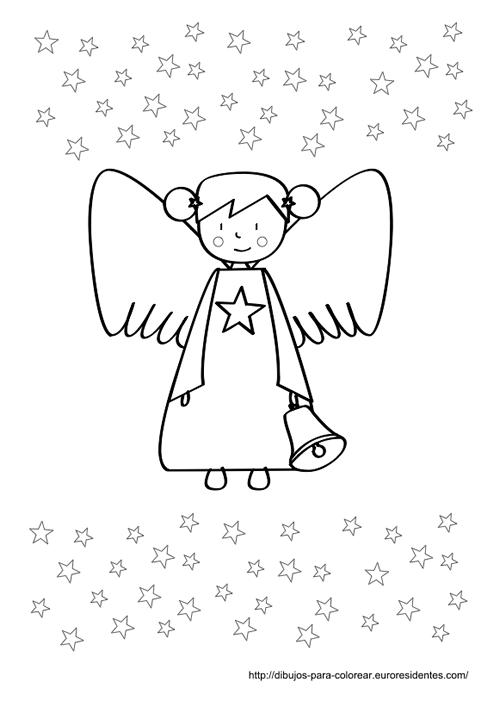 Angelito de Navidad para colorear   Angel, Navidad and Embroidery