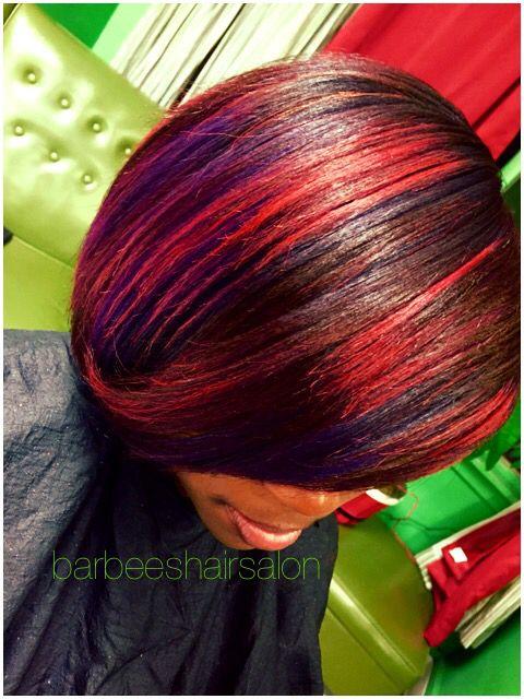 Red and purple bob