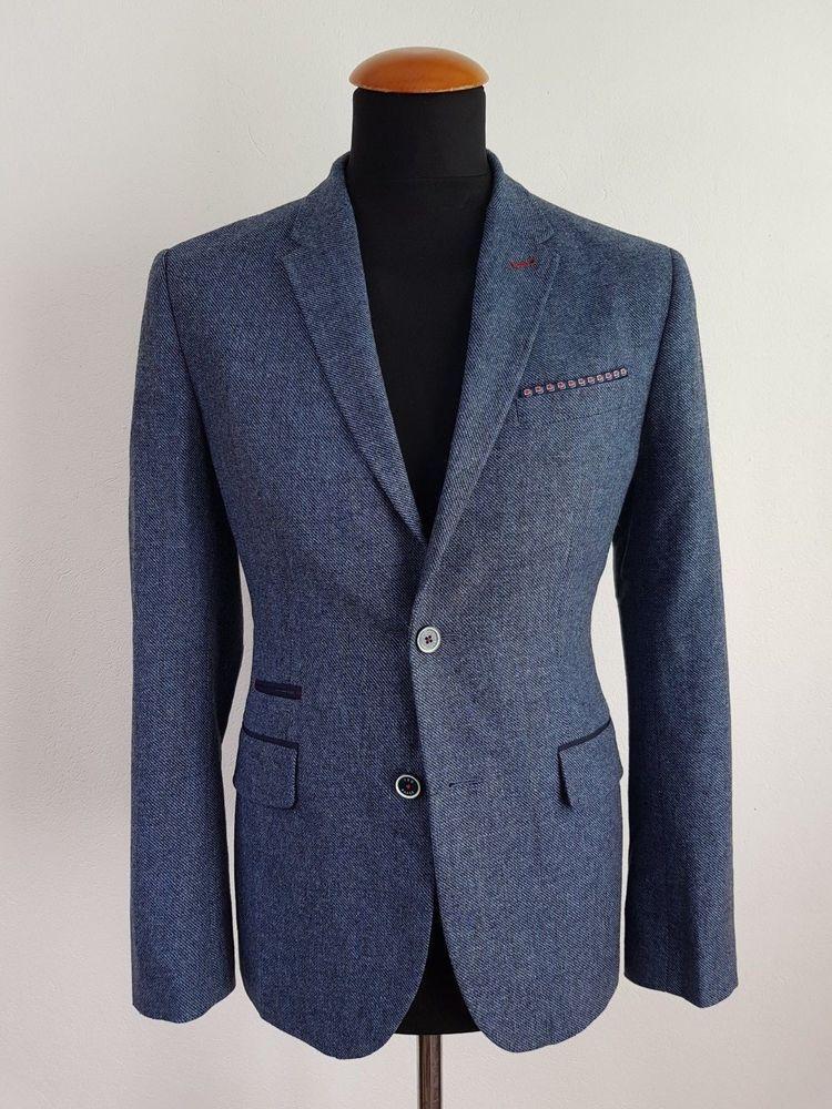 ce76fd3444f4 Sakko Ted Baker London Gr. 46 Blau Wollmischung Blazer size 36R UK wie neu  z14
