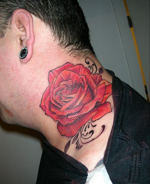 Pin By Aaron Brock On Inkspiration Neck Tattoo Rose Tattoos For Men Red Flower Tattoos