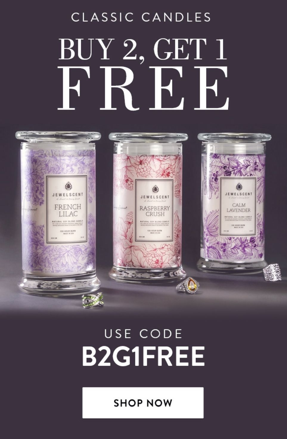 Buy 2 candles get 1 free cannot be combined with any other