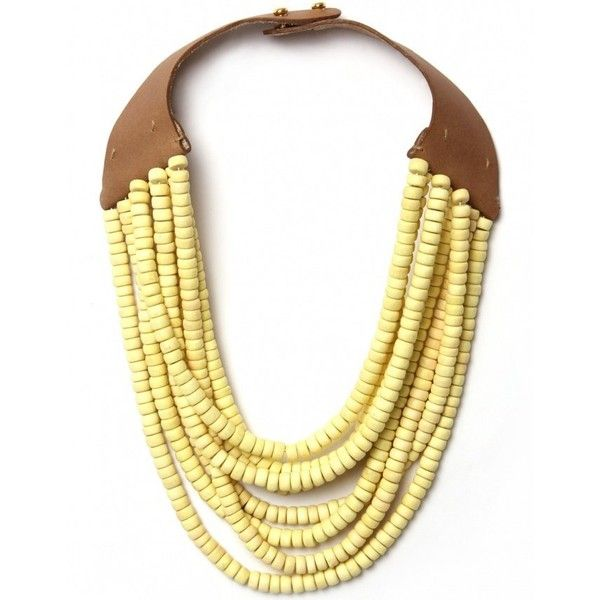 Women's Hoss Intropia Short Multi Strand Beaded Necklace (175 QAR) ❤ liked on Polyvore featuring jewelry, necklaces, accessories, yellow, multi strand chain necklace, yellow necklace, adjustable leather necklace, leather strap necklace and yellow bead necklace