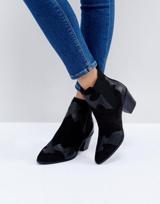 New Look Western Snake Effect Detail Ankle Boot