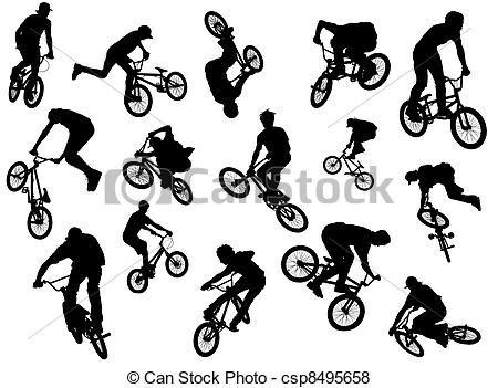 Siluetas de deportistas en bicicletas BMX, haciendo acrobacias ...