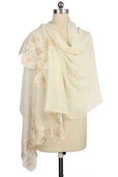 Ivory Wool Wrap with Gold Floral Lace Border