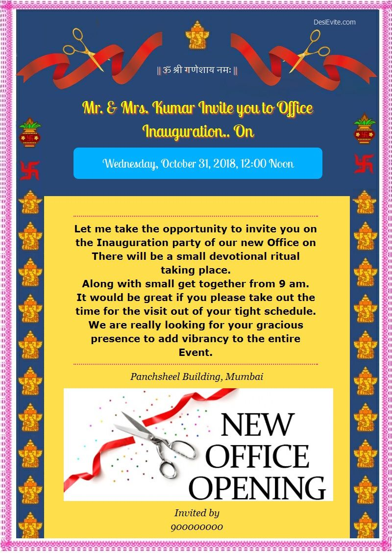 Format Of Office Opening Ceremony Invitation Wording And