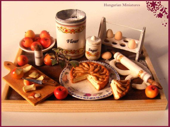 Apple tart  Preparation board by hungarianminiatures on Etsy, $185.00