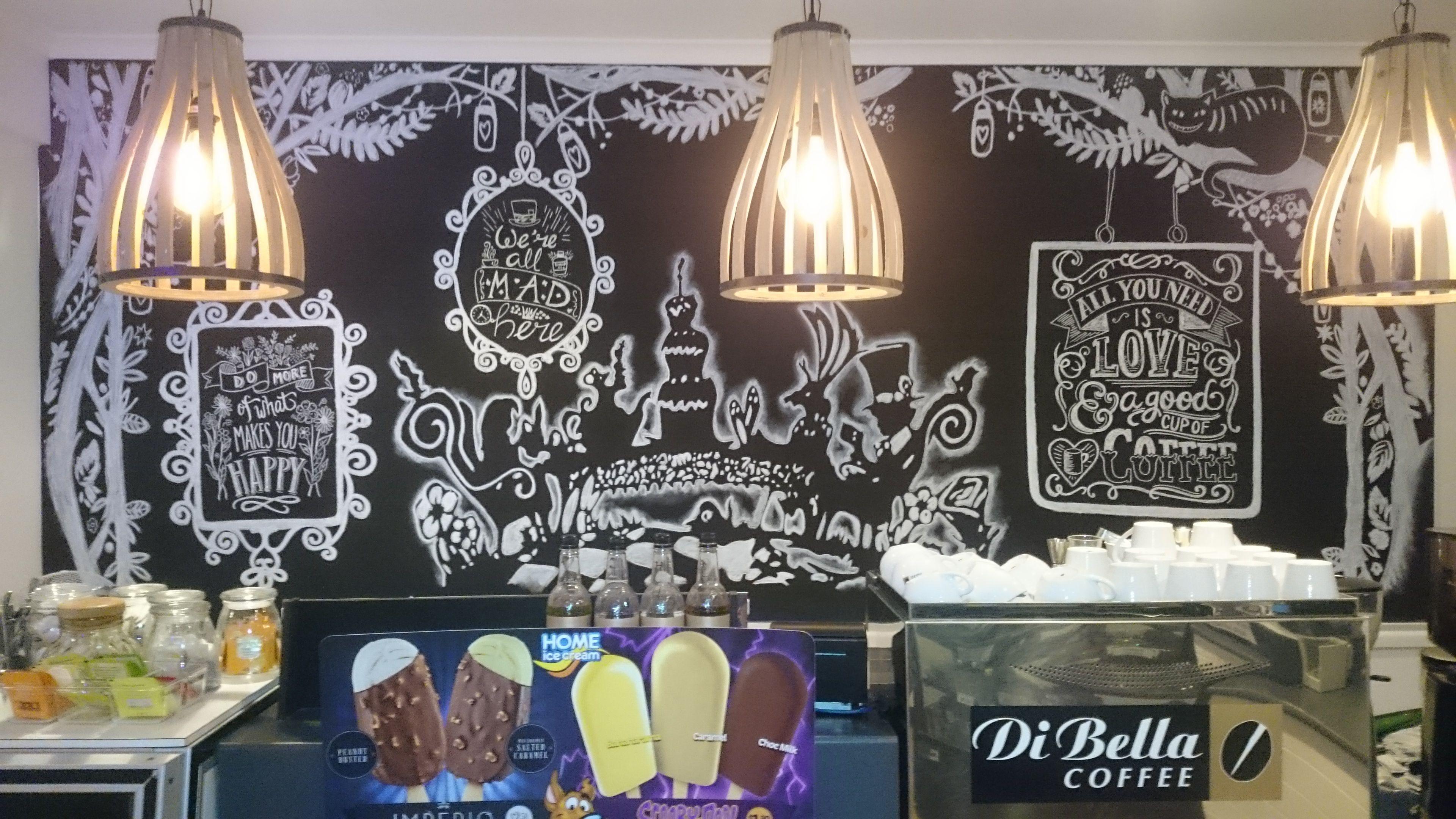 Alice in Wonderland inspired chalk wall mural for Tiddlywinks in Nundah.