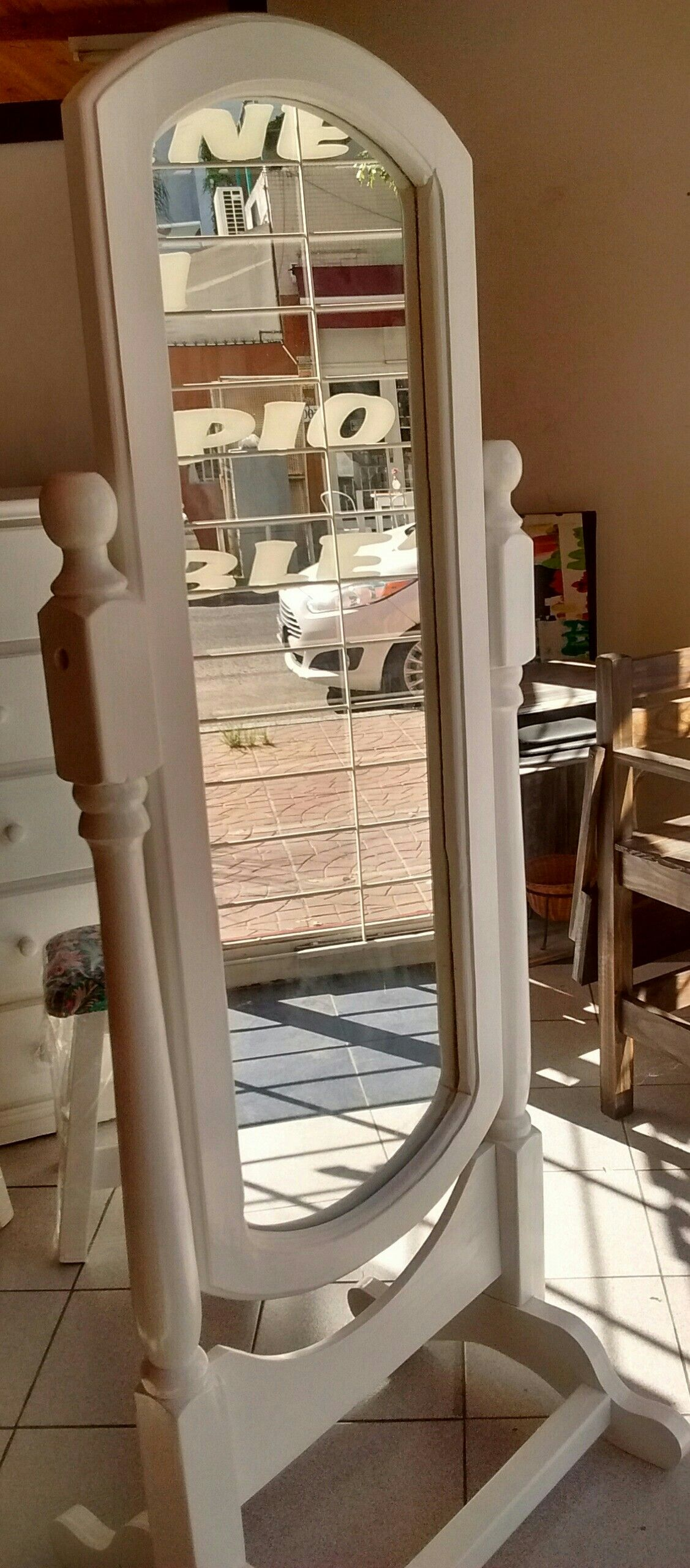 Marco De Espejo De Pie En Pino P Gina En Blanco Pleno By Liliana  # Muebles Liliana