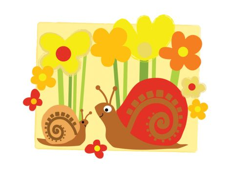 Snail Family in Flowers Print at Art.com