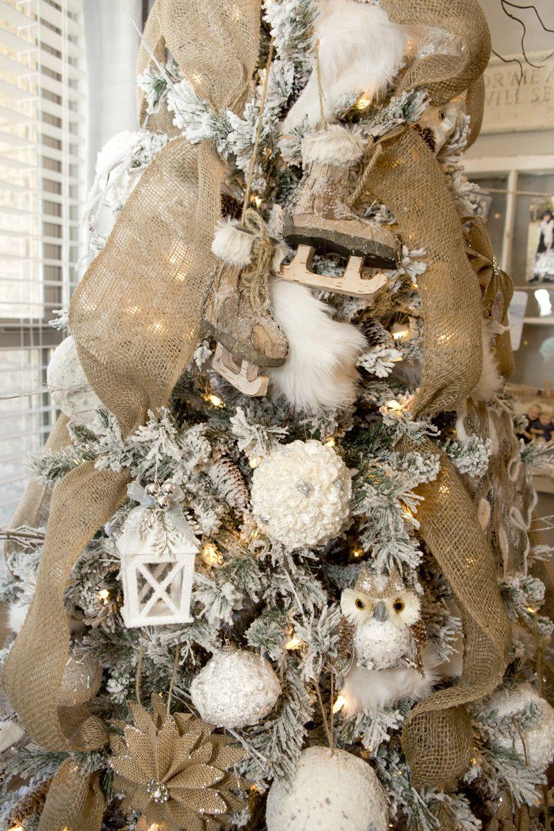 Farmhouse Christmas Decor With A Neutral Christmas Tree And Mantel Burlap Christmas Tree Woodland Christmas Tree Rustic Christmas Tree