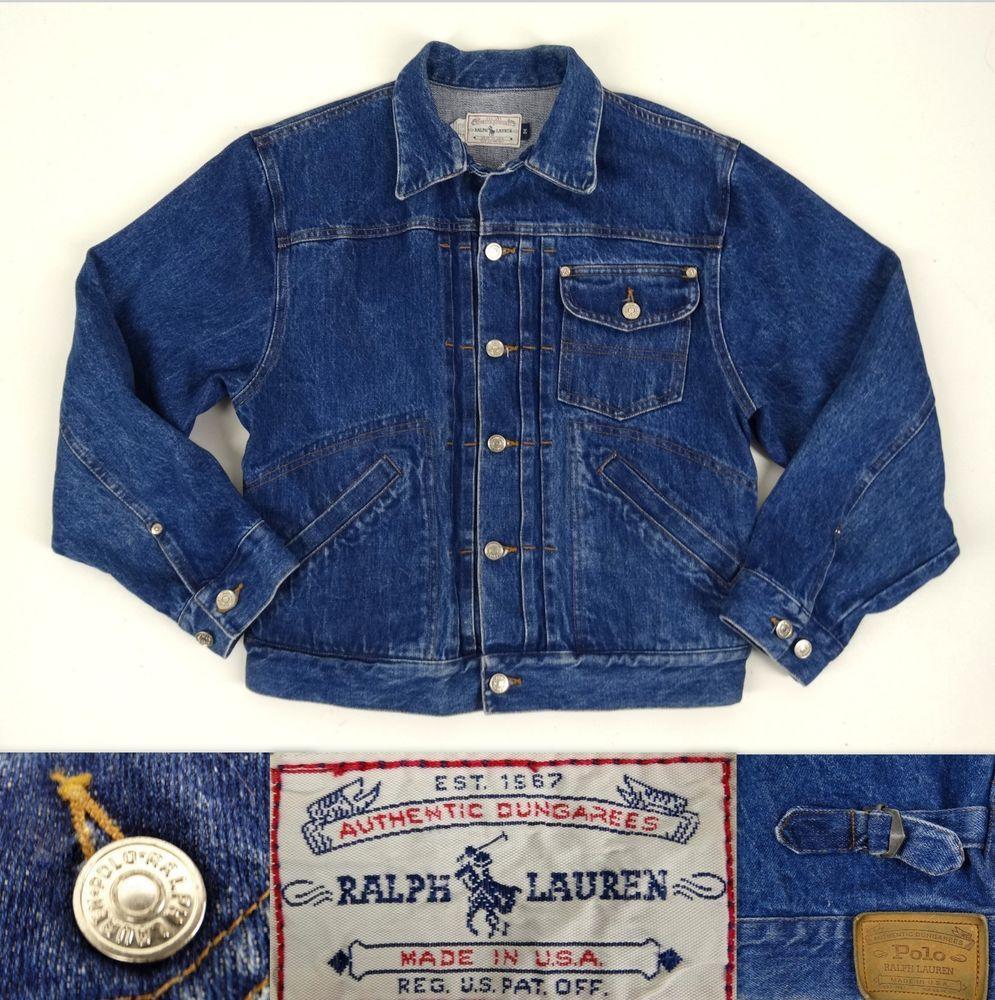 9361af193 Vintage 80 s Men s RALPH LAUREN POLO Jean Jacket M Authentic Dungarees Blue  USA  RALPHLAURENPoloAuthenticDungarees