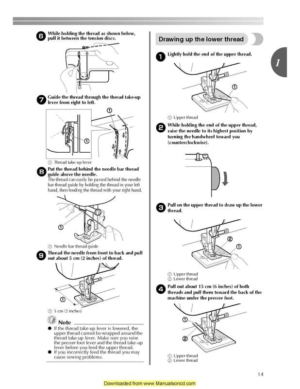 Free Brother vx1435 sewing machine threading guide