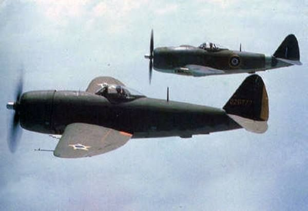 FAB [Brazilian Air Force] and RAF Republic P-47D Thunderbolts flying together in loose formation.