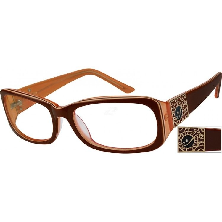 Brown rectangle glasses 447615 zenni optical eyeglasses