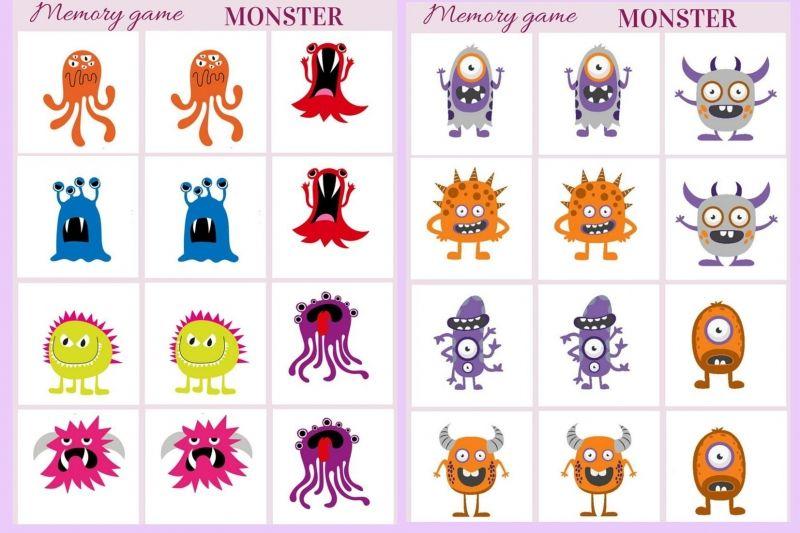 Monster Memory game free printables Memory games