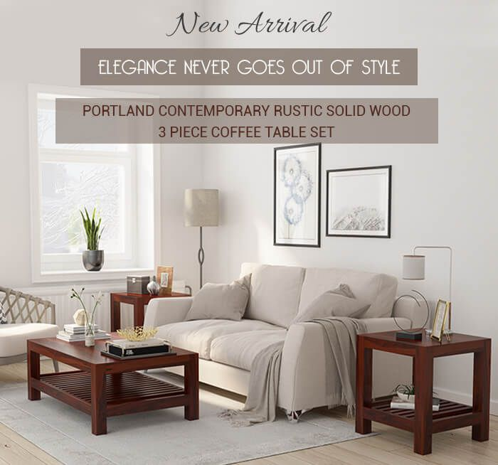 Portland Contemporary 2 Tier Coffee Table and End Table Set Coffee