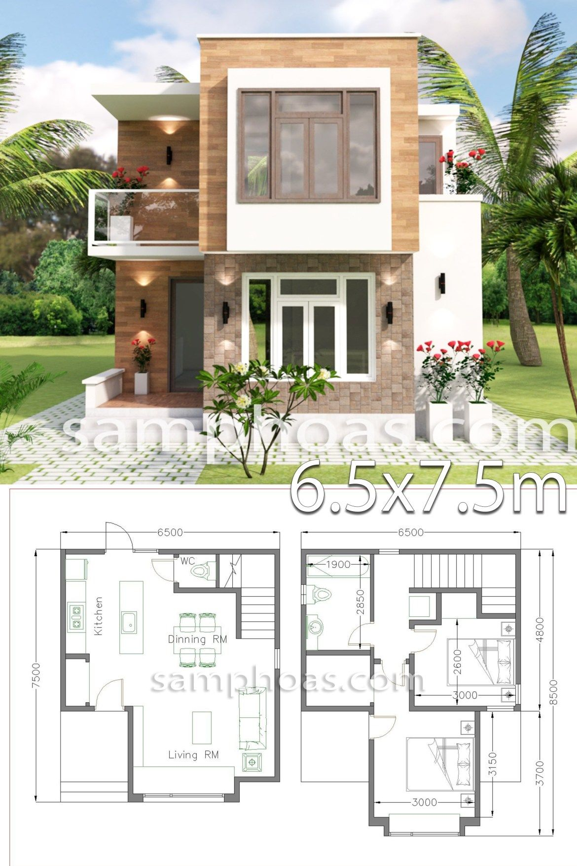 Small House Design with Full Plan 6 5x7 5m 2 Bedrooms is part of House design - The House has Car Parking small garden Living room, Dining room, Kitchen has door access to backyard, 2 Bedrooms with 1 bathrooms, 1 Restroom under