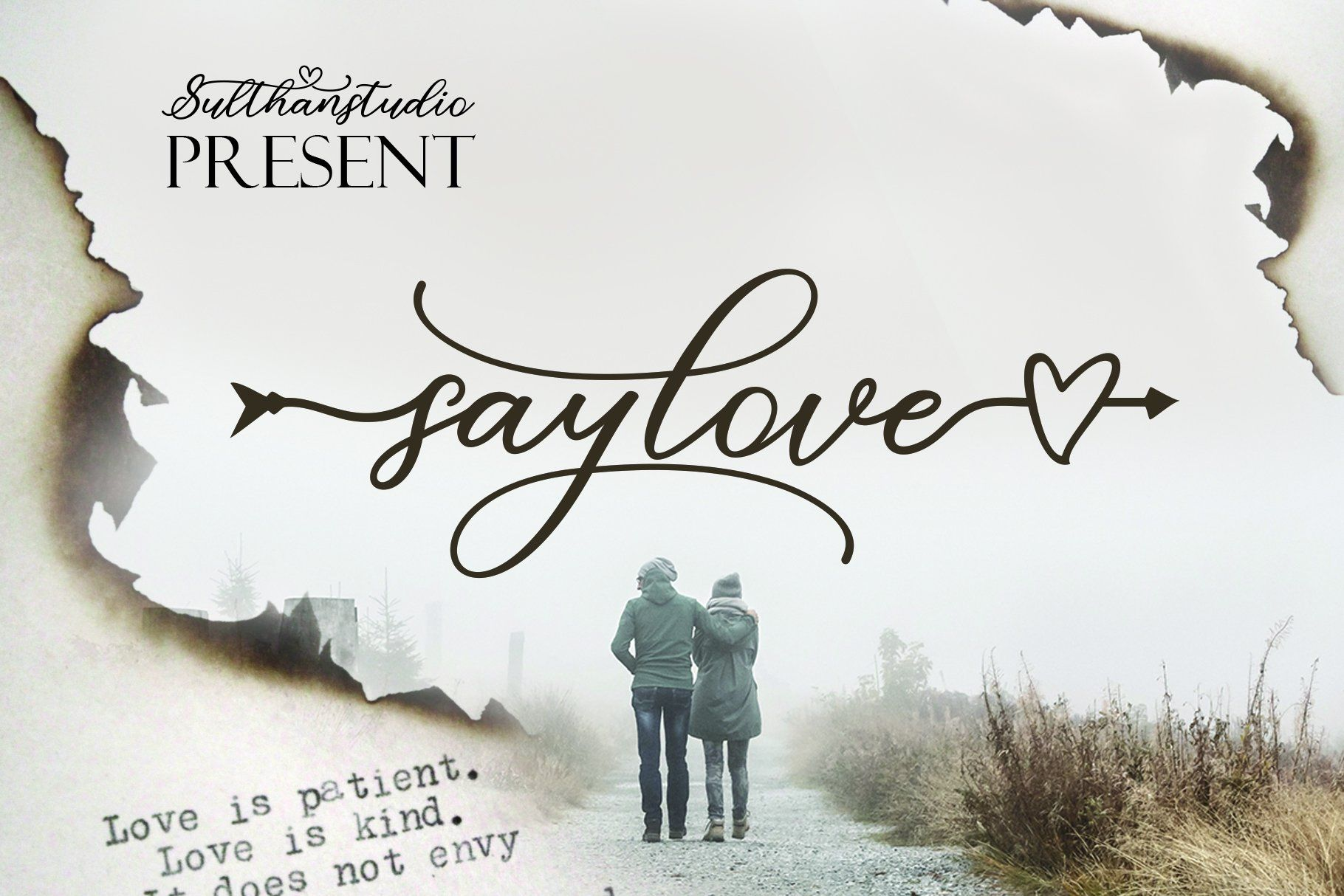 Say love - a new calligraphy font with italics added with a love arrow, this font is still fresh, also luxurious, attractive, sweet, for this font can also be connected with the front and back hearts. Great for greeting cards, branding materials, business cards, quotes, posters, and more! Say love - including many alternative characters. Coded with Unicode PUA, which allows full access to all additional characters without having special design software. Mac users can use Font Book. Windows users