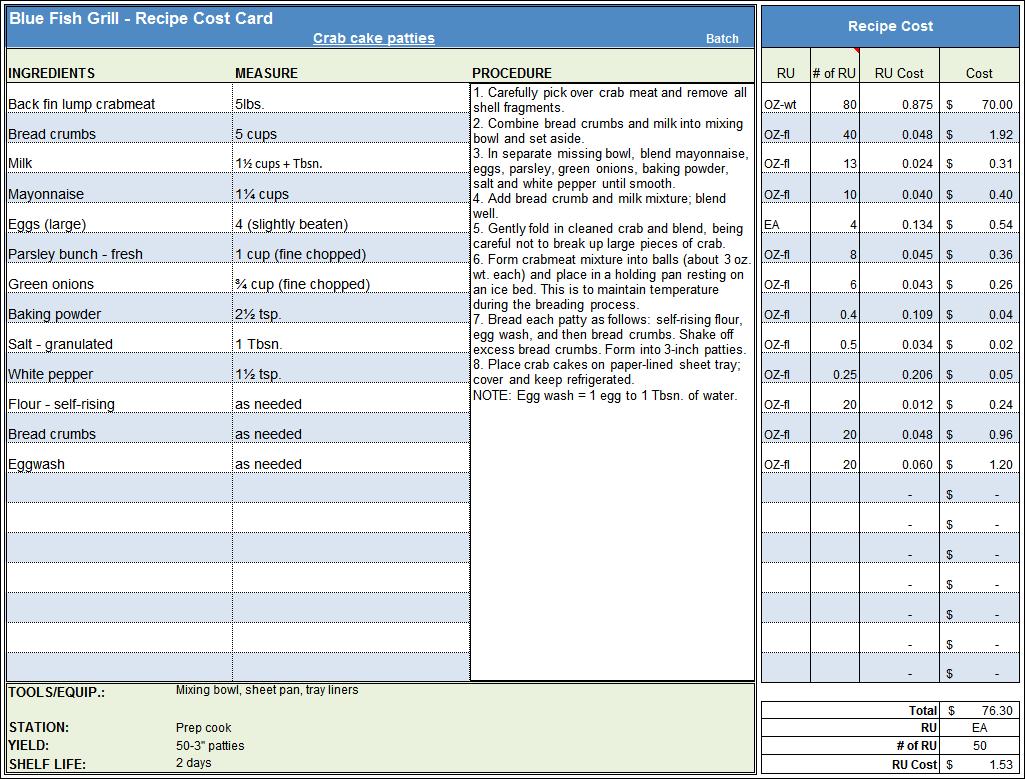 Menu Amp Recipe Cost Spreadsheet Template