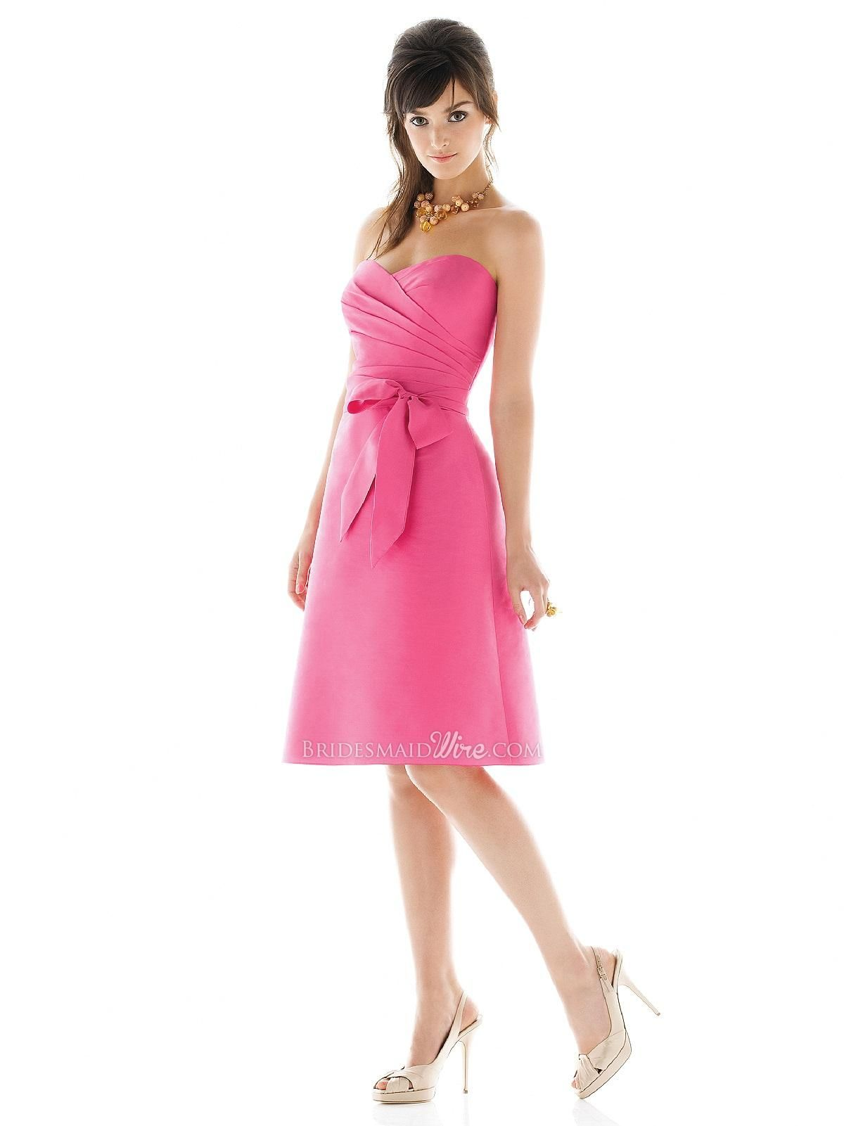 cocktail length bridesmaid dress with draped bodice and matching ...