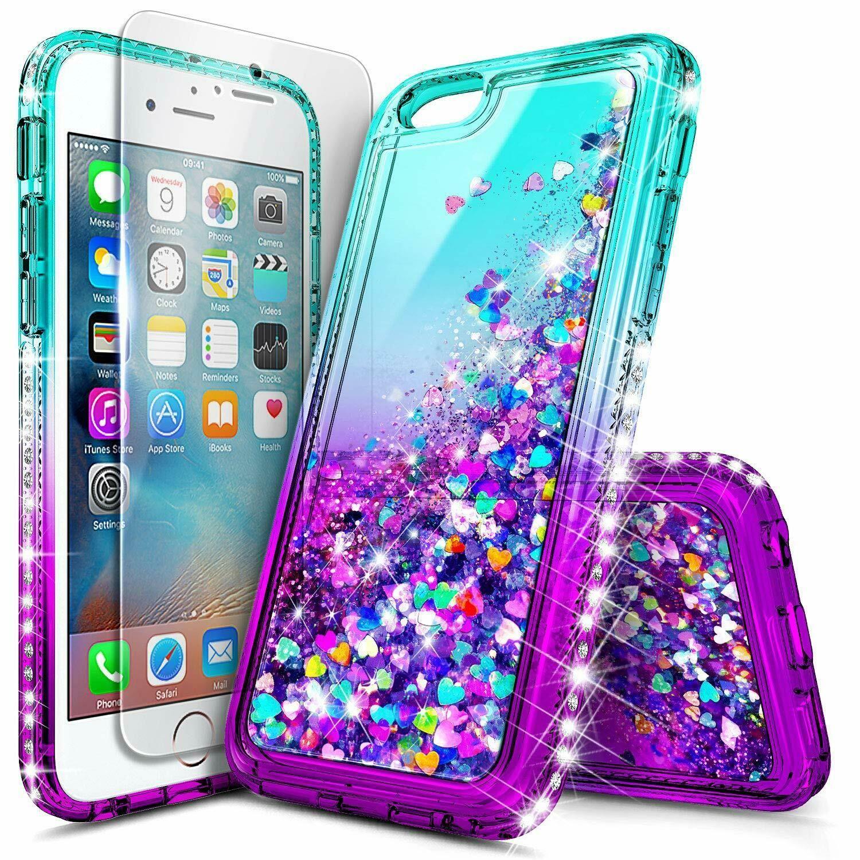 For apple iphone 6 6s 7 8 plus case liquid glitter bling